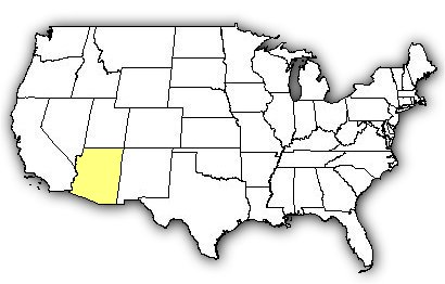 Map of US states the Arizona Ridgenose Rattlesnake is found in.