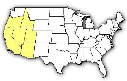 map of us states the great basin rattlesnake is found in