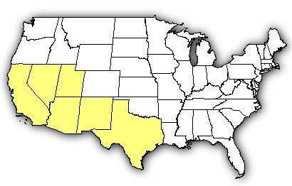 Map of US states the Mojave Rattlesnake is found in.