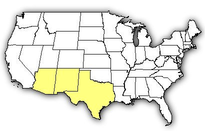 Map of US states the Northern Black-tailed Rattlesnake is found in.