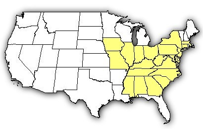 Map of US states the Northern Copperhead is found in.