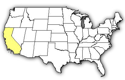 Map of US states the Southern Pacific Rattlesnake is found in.