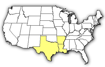 Map of US states the Texas Coral Snake is found in.