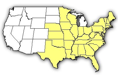 Map of US states the Timber Rattlesnake is found in.
